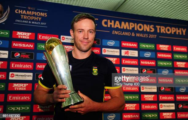 De Villiers Captain of South Africa poses with the trophy during the ICC Champions Trophy South Africa Press Conference at The Oval on June 2 2017 in...