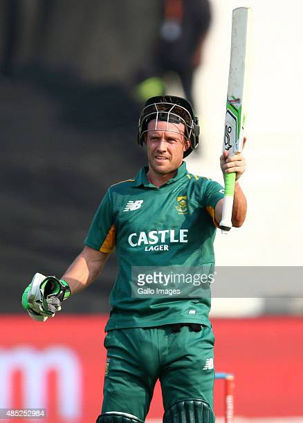 AB de Villiers celebrates his 50 runs during the 3rd ODI match between South Africa and New Zealand at Sahara Stadium Kingsmead on August 26 2015 in...