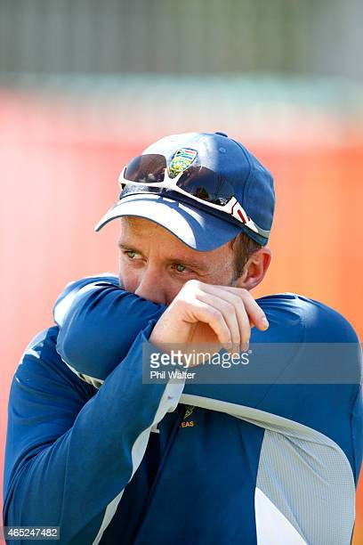 De Villiers during a South Africa nets session at Eden Park on March 5 2015 in Auckland New Zealand