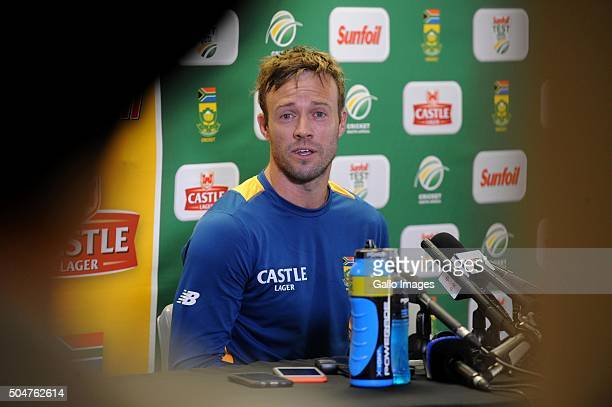 AB de Villiers during the South African national cricket team training session and captain's press conference at Bidvest Wanderers Stadium on January...