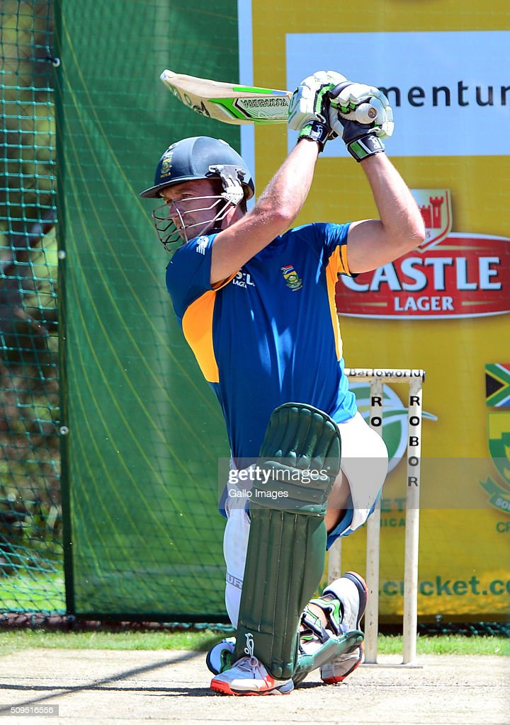AB de Villiers during the South African national cricket team training session and press conference at Bidvest Wanderers Stadium on February 11, 2016 in Johannesburg, South Africa.