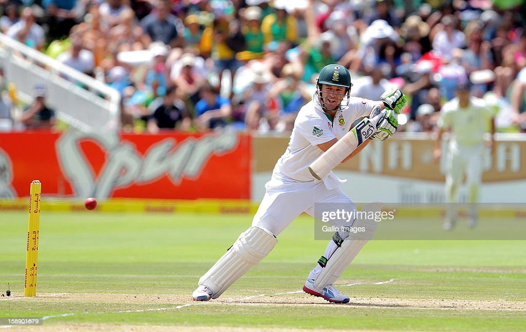 AB de Villiers from the Proteas hits out during day 2 of the 1st Test between South Africa and New Zealand at Sahara Park Newlands on January 03, 2013 in Cape Town, South Africa.