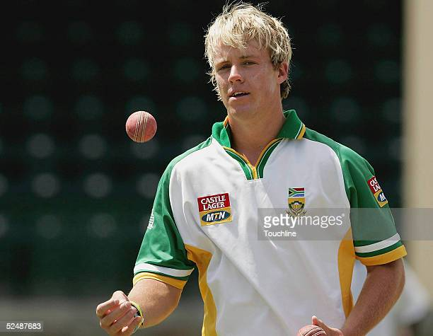 AB de Villiers is seen during the SA cricket team practice session at Jolly Harbour cricket ground on March 28 2005 in Antigua West Indies