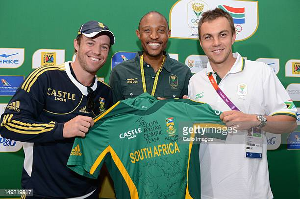 AB de Villiers Khotso Mokoena and LJ van Zyl pose during the South African Olympic Team Press Conference from Copthorne Tara Hotel Kensington on July...