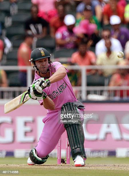 AB de Villiers of South Africa about to hit another six during the 2nd Momentum ODI between South Africa and West Indies at Bidvest Wanderers Stadium...
