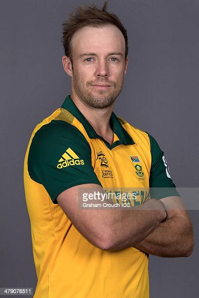 AB de Villiers of South Africa at the headshot session at the Pan Pacific Hotel Dhaka in the lead up to the ICC World Twenty20 Bangladesh 2014 on...