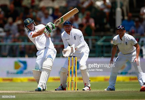 AB de Villiers of South Africa bats as Jonny Bairstow of England keeps wicket during day three of the 2nd Test at Newlands Stadium on January 4 2016...