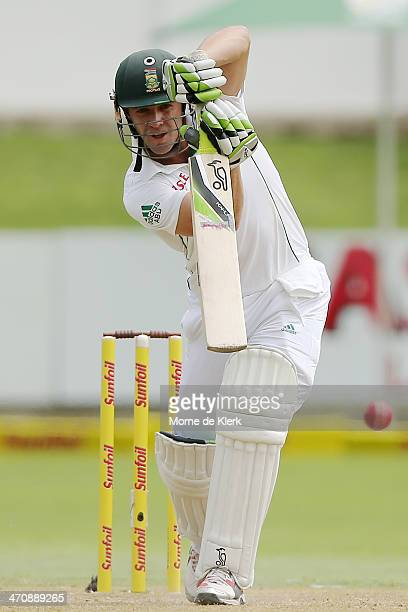 De Villiers of South Africa bats during day two of the Second Test match between South Africa and Australia at AXXESS St George's Cricket Stadium on...