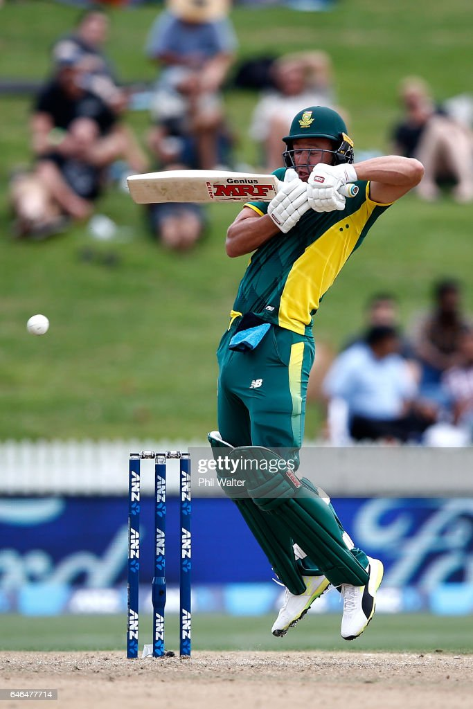 AB de Villiers of South Africa bats during game four of the One Day International series between New Zealand and South Africa at on March 1, 2017 in Hamilton, New Zealand.