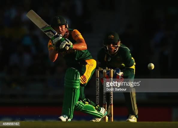 AB de Villiers of South Africa bats during game one of the men's one day international series between Australia and South Africa at WACA on November...