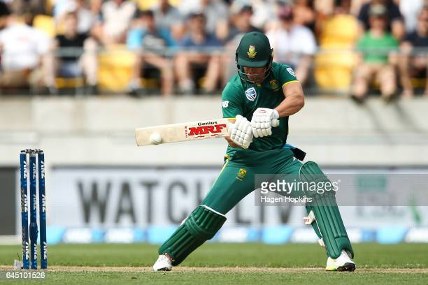 AB de Villiers of South Africa bats during game three of the One Day International series between New Zealand and South Africa at Westpac Stadium on...