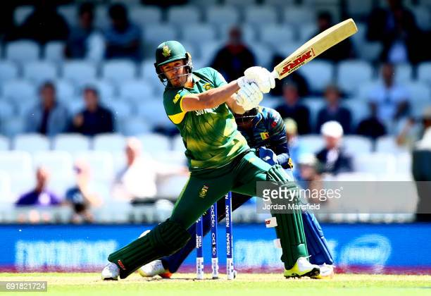 AB de Villiers of South Africa bats during the ICC Champions Trophy match between Sri Lanka and South Africa at The Kia Oval on June 3 2017 in London...