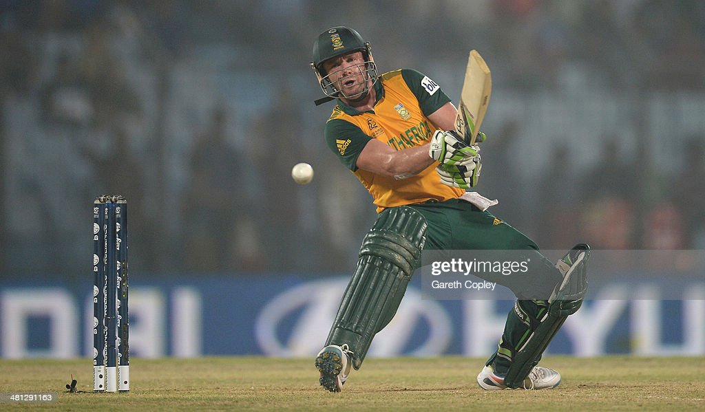 AB de Villiers of South Africa bats during the ICC World Twenty20 Bangladesh 2014 Group 1 match between England and South Africa at Zahur Ahmed Chowdhury Stadium on March 29, 2014 in Chittagong, Bangladesh.