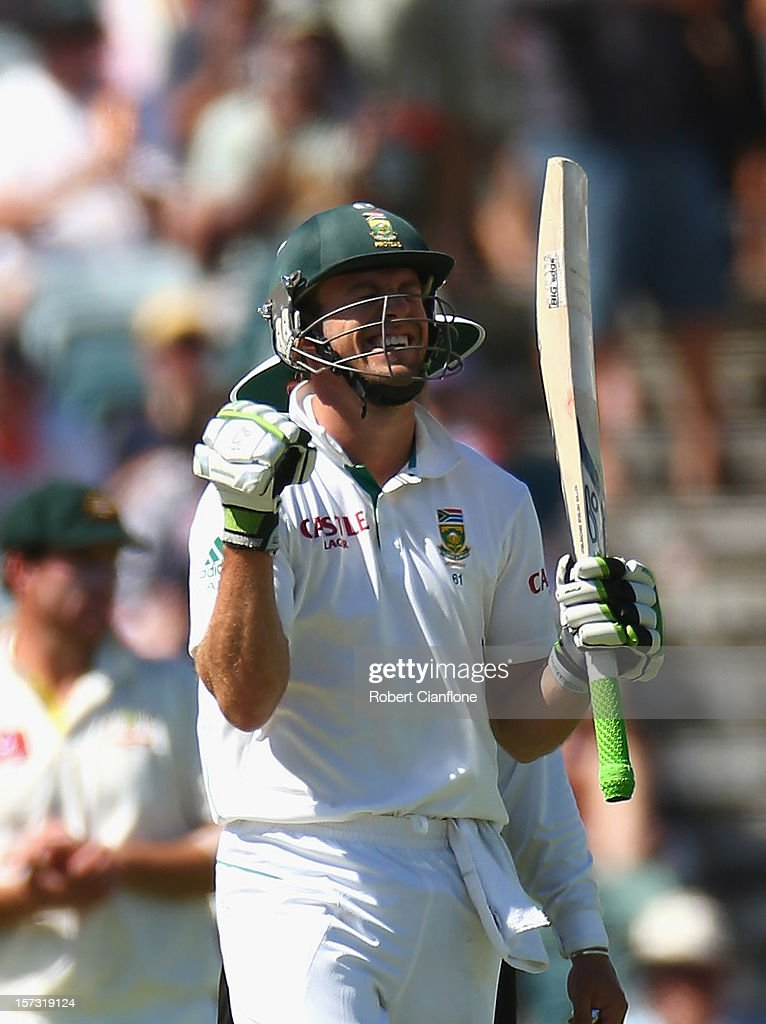 AB de Villiers of South Africa celebrates after scoring his century during day three of the Third Test Match between Australia and South Africa at WACA on December 2, 2012 in Perth, Australia.