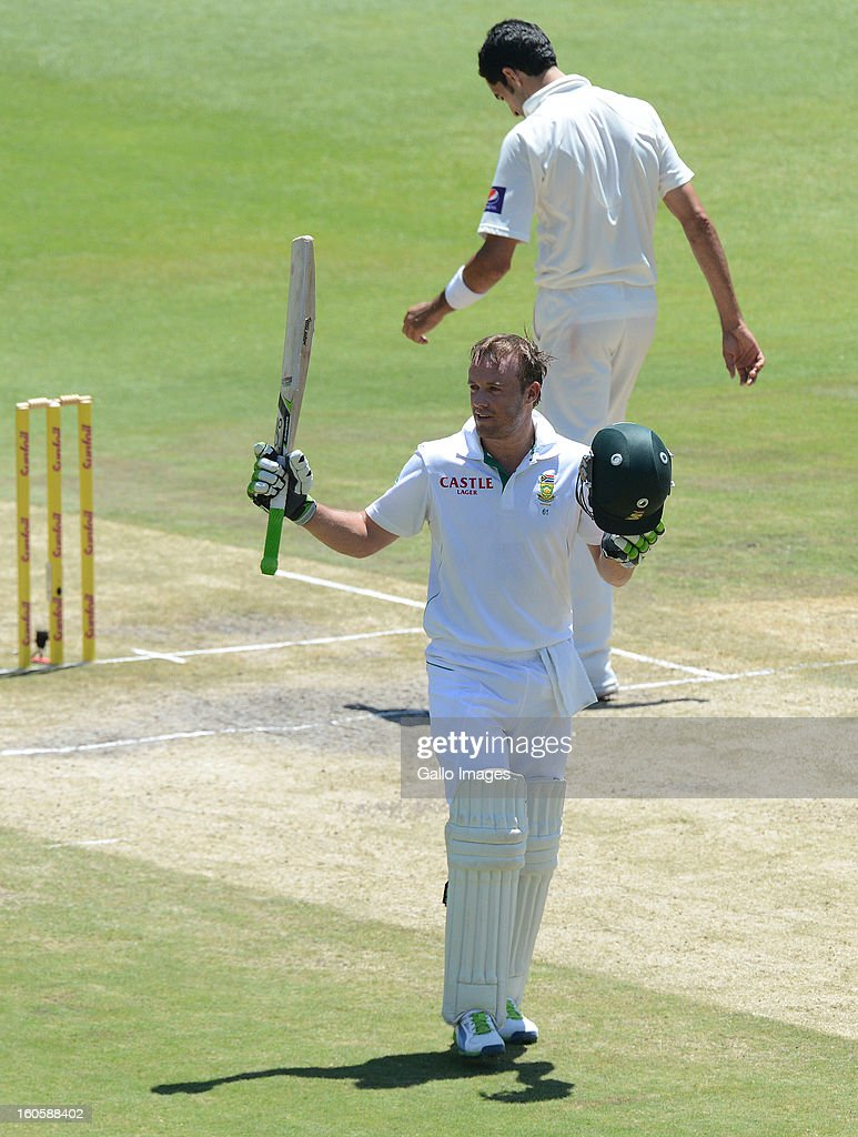 AB de Villiers of South Africa celebrates his 100 during day 3 of the 1st Test match between South Africa and Pakistan at Bidvest Wanderers Stadium on February 03, 2013 in Johannesburg, South Africa.