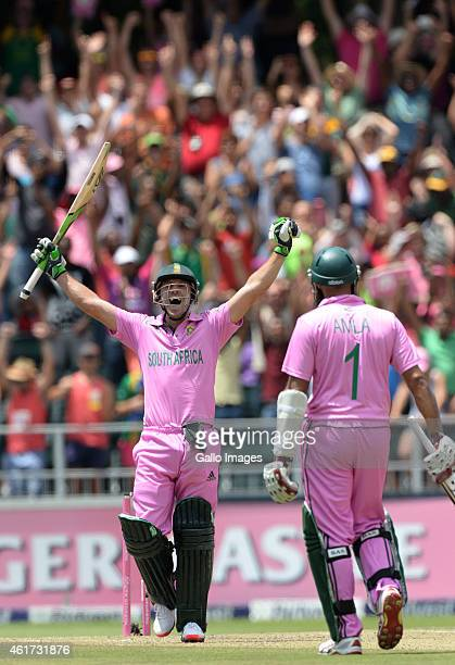 AB de Villiers of South Africa celebrates his 100 runs off 31 balls during the 2nd Momentum ODI between South Africa and West Indies at Bidvest...