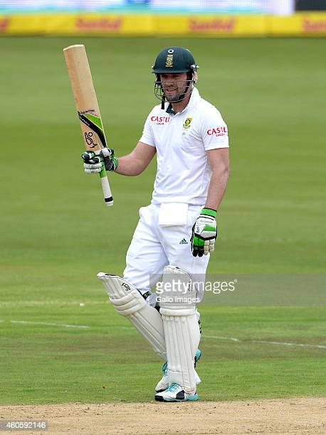 AB de Villiers of South Africa celebrates his 50 during day 1 of the 1st Test match between South Africa and West Indies at SuperSport Park on...