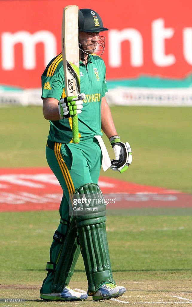 AB de Villiers of South Africa celebrates his 50 runs during the 5th Momentum ODI match between South Africa and Pakistan from Willowmoore Park on March 24, 2013 in Benoni, South Africa.