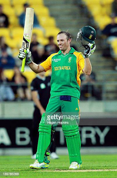 AB de Villiers of South Africa celebrates his century during the One Day International match between New Zealand and South Africa at Westpac Stadium...