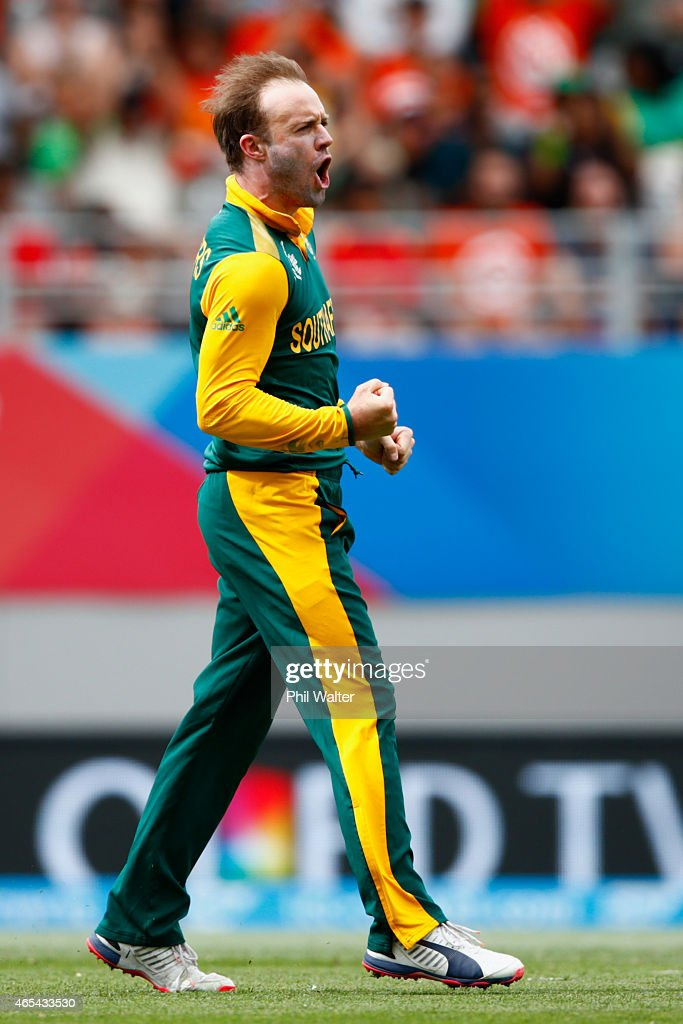 AB de Villiers of South Africa celebrates his wicket of Younis Khan of Pakistan during the 2015 ICC Cricket World Cup match between South Africa and Pakistan at Eden Park on March 7, 2015 in Auckland, New Zealand.