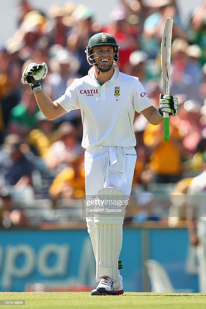 AB de Villiers of South Africa celebrates scoring a century during day three of the Third Test Match between Australia and South Africa at the WACA on December 2, 2012 in Perth, Australia.