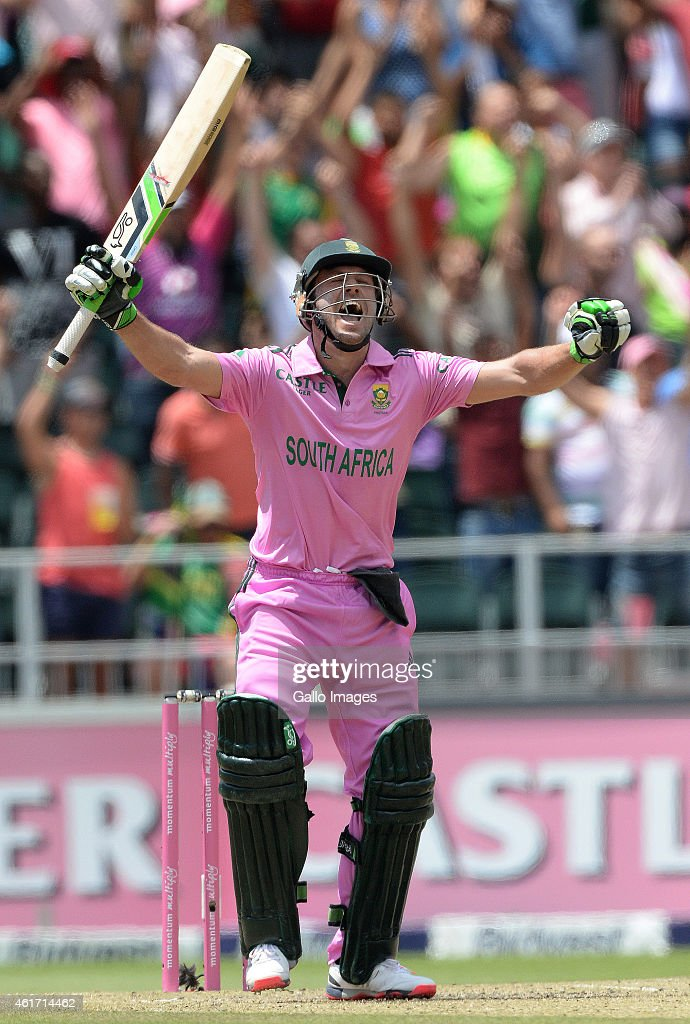 AB de Villiers of South Africa celebrates smashing the fastest ever one-day century off just 31 balls during the 2nd Momentum ODI between South Africa and West Indies at Bidvest Wanderers Stadium on January 18, 2015 in Johannesburg, South Africa.