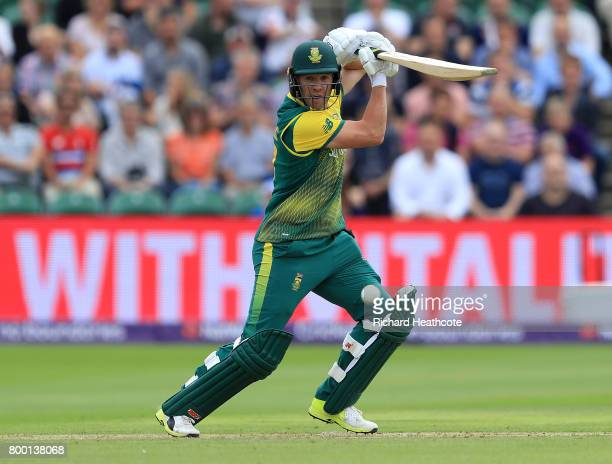 AB de Villiers of South Africa drives the ball during the 2nd NatWest T20 International match between England and South Africa at The Cooper...