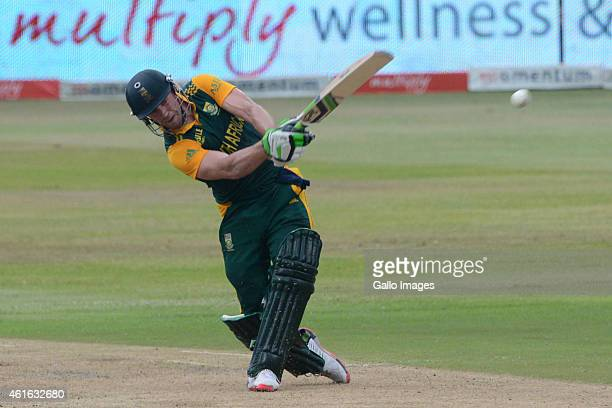 AB de Villiers of South Africa during the 1st Momentum ODI between South Africa and West Indies at Sahara Stadium Kingsmead on January 16 2015 in...