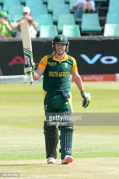 AB de Villiers of South Africa goes to his 50 runs during the 1st Momentum ODI between South Africa and West Indies at Sahara Stadium Kingsmead on...