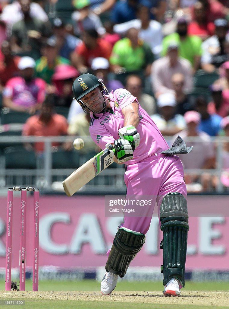 AB de Villiers of South Africa goes to the fastest one-day 50 off 16 balls during the 2nd Momentum ODI between South Africa and West Indies at Bidvest Wanderers Stadium on January 18, 2015 in Johannesburg, South Africa.