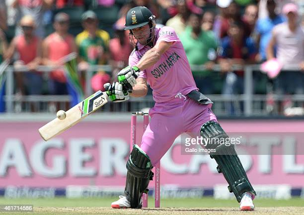 AB de Villiers of South Africa hits another six during the 2nd Momentum ODI between South Africa and West Indies at Bidvest Wanderers Stadium on...