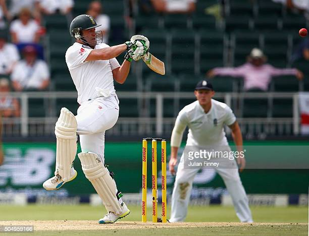 AB de Villiers of South Africa hits out during day one of the 3rd Test at Wanderers Stadium on January 14 2016 in Johannesburg South Africa