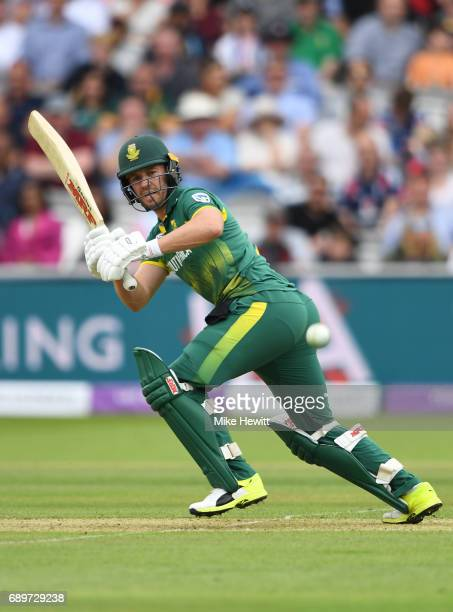 AB de Villiers of South Africa hits out during the 3rd Royal London ODI between England and South Africa at Lord's Cricket Ground on May 29 2017 in...