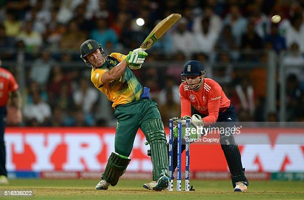 AB de Villiers of South Africa hits out for six runs during the ICC World Twenty20 India 2016 Super 10s Group 1 match between South Africa and...