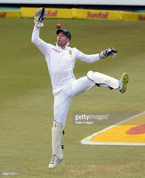 AB de Villiers of South Africa in action as wicketkeeper during day 4 of the 2nd Test match between South Africa and India at Sahara Stadium...