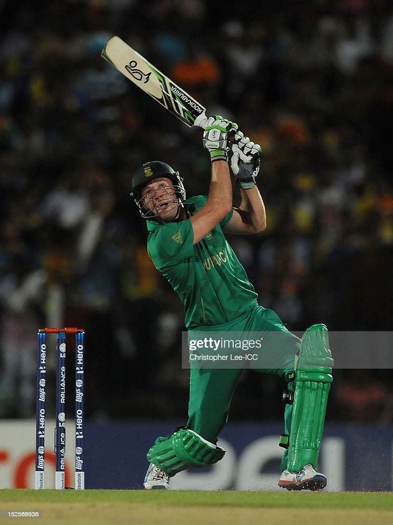 AB De Villiers of South Africa in action during the ICC World Twenty20 2012 Group C match between Sri Lanka and South Africa at Mahinda Rajapaksa International Cricket Stadium on September 22, 2012 in Hambantota, Sri Lanka.