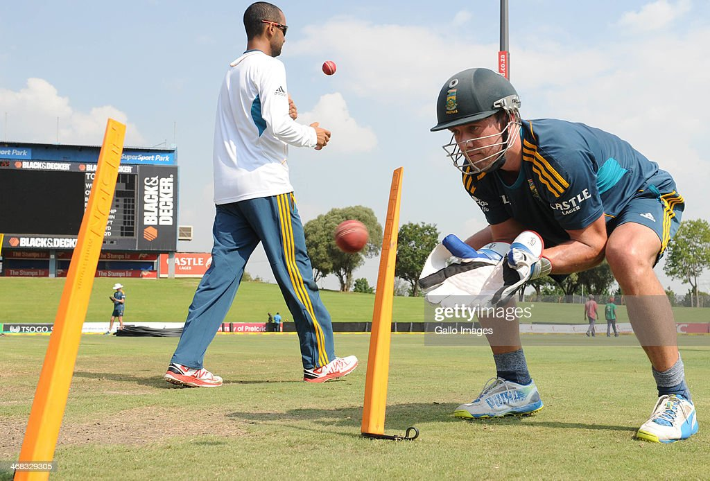 AB de Villiers of South Africa in action during the South African national cricket team training session and press conference at SuperSport Park on...