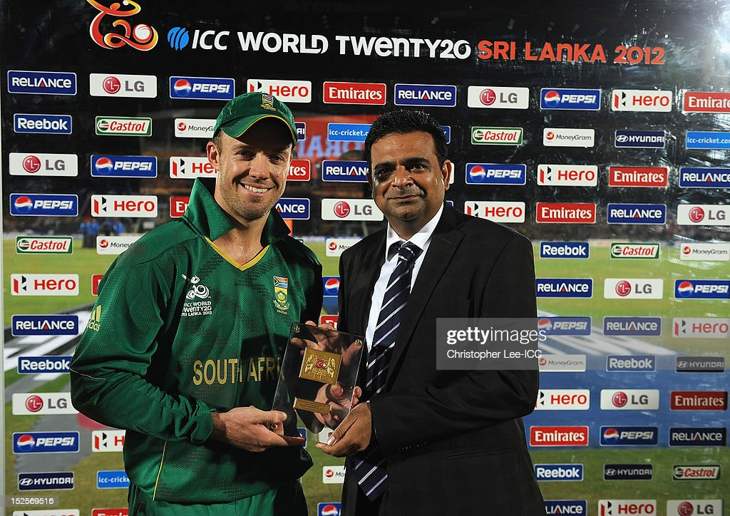 AB De Villiers of South Africa is handed his Player of the Match award by Mr Sohit of Pepsi during the ICC World Twenty20 2012 Group C match between Sri Lanka and South Africa at Mahinda Rajapaksa International Cricket Stadium on September 22, 2012 in Hambantota, Sri Lanka.