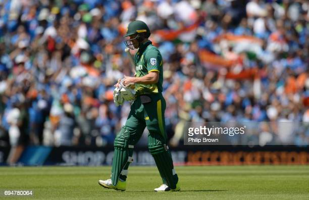 AB de Villiers of South Africa leaves the field after being run out during the ICC Champions Trophy match between India and South Africa at the Kia...