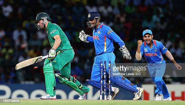 AB de Villiers of South Africa looks on after he was bowled by Yuvraj Singh of India during the ICC World Twenty20 2012 Super Eights Group 2 match...