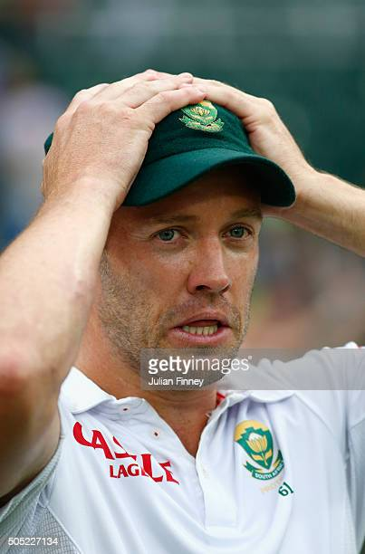 AB de Villiers of South Africa looks on after losing the match and the series during day three of the 3rd Test at Wanderers Stadium on January 16...