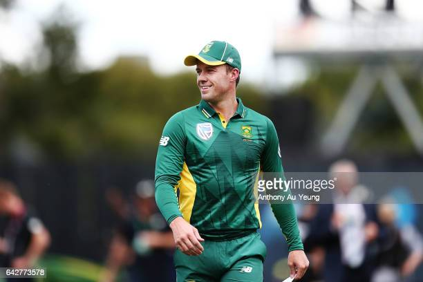 AB de Villiers of South Africa looks on ahead of the First One Day International match between New Zealand and South Africa at Seddon Park on...