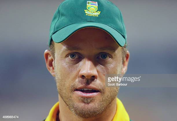 AB de Villiers of South Africa looks on during game one of the men's one day international series between Australia and South Africa at WACA on...