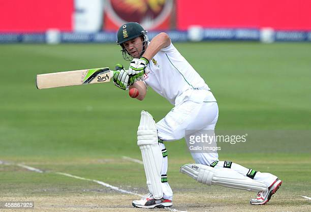 AB de Villiers of South Africa plays square during day 5 of the 1st Test match between South Africa and India at Bidvest Wanderers Stadium on...