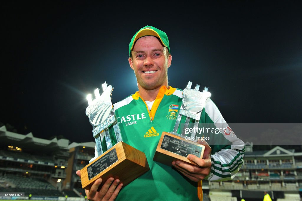 AB de Villiers of South Africa pose with the Series trophy and Man of the Series trophy after the 5th ODI match between South Africa and Sri Lanka from Bidvest Wanderers Stadium on January 22, 2012 in Johannesburg, South Africa.