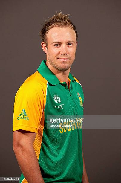 B de Villiers of South Africa poses during a portrait session ahead of the 2011 ICC World Cup at the Sheraton Hotel and Towers on February 11 2011 in...