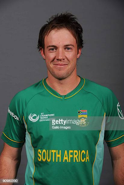 AB de Villiers of South Africa poses during an ICC Champions photocall session at Sandton Sun on September 19 2009 in Sandton South Africa