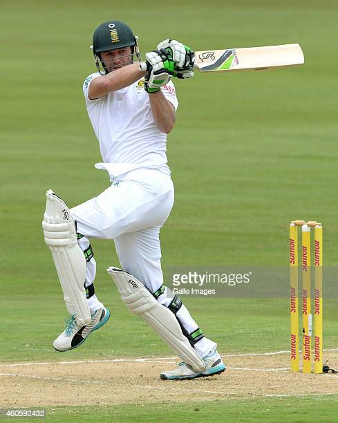 AB de Villiers of South Africa pulls a delivery during day 1 of the 1st Test match between South Africa and West Indies at SuperSport Park on...