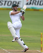 AB de Villiers of South Africa pulls a delivery during day 1 of the 2nd Test match between South Africa and Australia at AXXESS St Georges on...