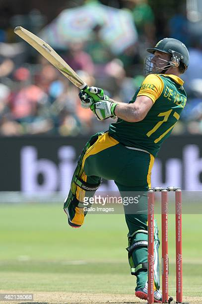 AB de Villiers of South Africa pulls a delivery during the 4th Momentum ODI between South Africa and West Indies at St Georges Park on January 25...